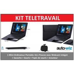 Kit Télétravail – Mini-Ordinateur Portable 10,1 Pouces - Webcam intégré + Sacoche + Souris + Tapis de souris + écouteur